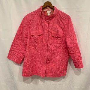 🐒Chico's hot pink cotton lightweight jacket Sz 3